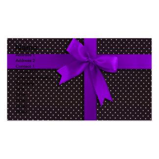 Purple Polka Dot Ribbon Business Card Template