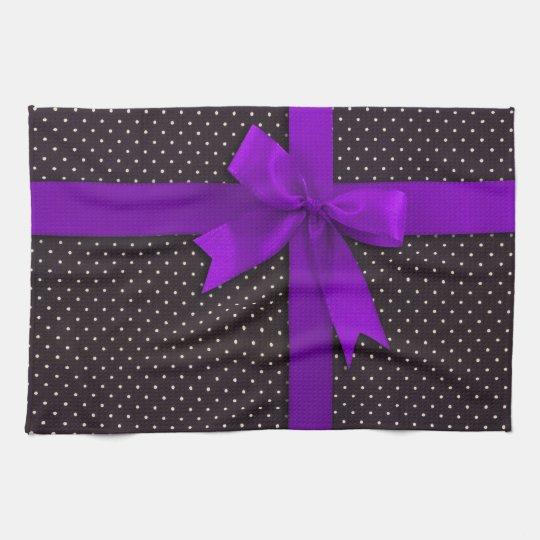 Purple Polka Dot Ribbon Kitchen Towel