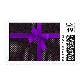 Purple Polka Dot Ribbon Postage