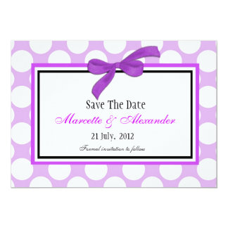 Purple Polka Dot Save The Date Card