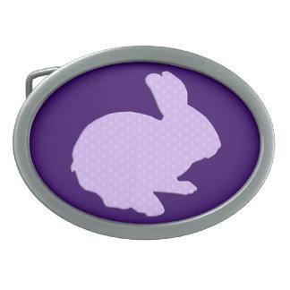 Purple Polka Dot Silhouette Bunny Belt Buckle
