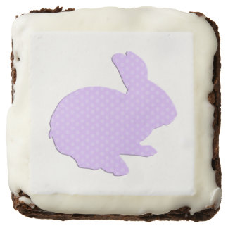 Purple Polka Dot Silhouette Easter Bunny Brownies