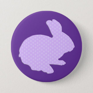 Purple Polka Dot Silhouette Easter Bunny Button