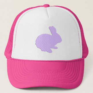 Purple Polka Dot Silhouette Easter Bunny Hat