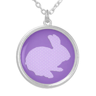 Purple Polka Dot Silhouette Easter Bunny Necklace