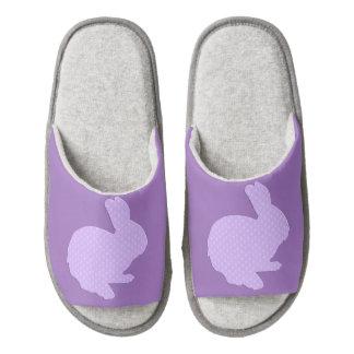 Purple Polka Dot Silhouette Easter Bunny Slippers Pair Of Open Toe Slippers