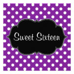 Purple Polka Dot Sweet 16 Birthday Party Announcements