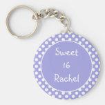 Purple Polka Dot Sweet 16 Keychain