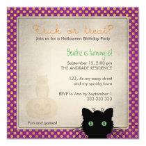 Purple Polka Dot Trick Treat Halloween Birthday Card