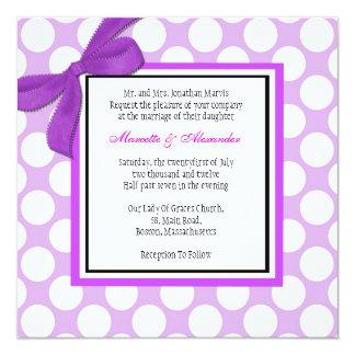 Purple Polka Dot Wedding Invitation