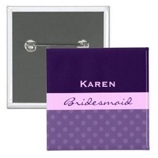 Purple Polka Dot Wedding Name Pin
