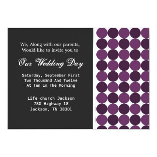 Purple Polka DotBackground Wedding Invites