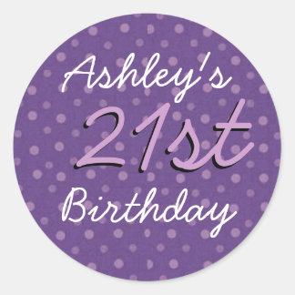 Purple Polka Dots 21st Birthday Custom Name Classic Round Sticker