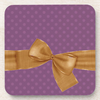 Purple Polka Dots and Gold Bow Gift Item Drink Coaster