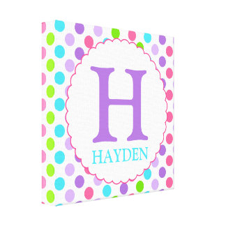Purple Polka Dots and Initial Wall Decor Canvas Print