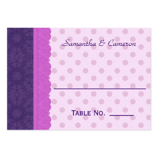 Purple Polka Dots and Lace Wedding Paper Product 1 Business Card Template