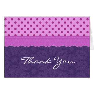 Purple Polka Dots and Lace Wedding Paper Product 1 Greeting Card