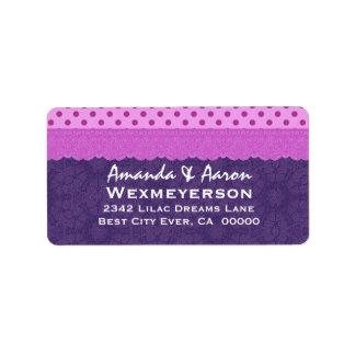 Purple Polka Dots and Lace Wedding Paper Product 1 Custom Address Labels