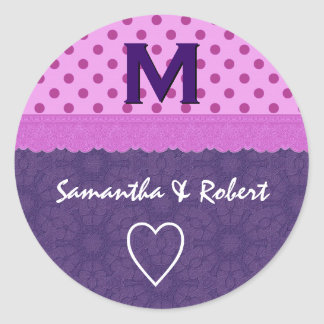 Purple Polka Dots and Lace Wedding Paper Product 1 Round Sticker