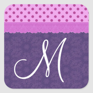 Purple Polka Dots and Lace Wedding Paper Product 1 Sticker