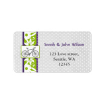purple  polka dots bicycle return address label