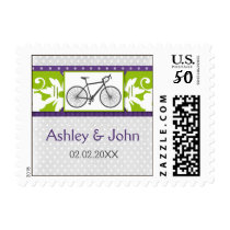 purple polka dots bicycle wedding stamps
