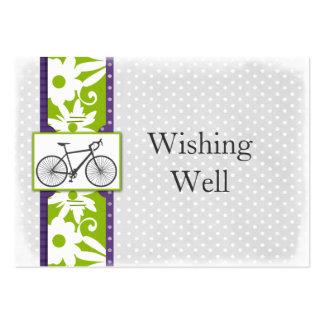 purple polka dots bicycle wishing well cards