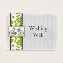 purple polka dots bicycle wishing well cards