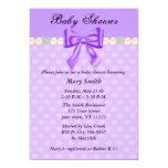 Purple Polka Dots Bow Baby Shower Invitation