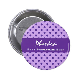 Purple Polka Dots Bridesmaid Custom Wedding Gift 1 2 Inch Round Button