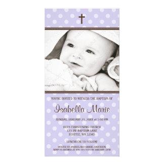 Purple Polka Dots Brown Cross Baptism Photo Card
