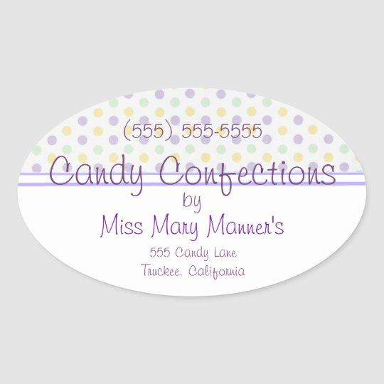 Purple Polka Dots-Candy Label