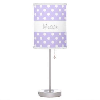 Purple Polka Dots Custom Name V085 Table Lamp