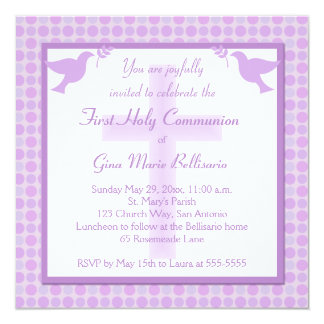 Purple Polka Dots First Holy Communion Invitation