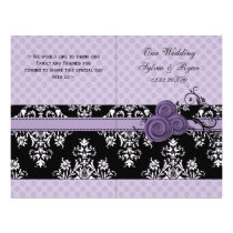 purple polka dots floral book fold Wedding program