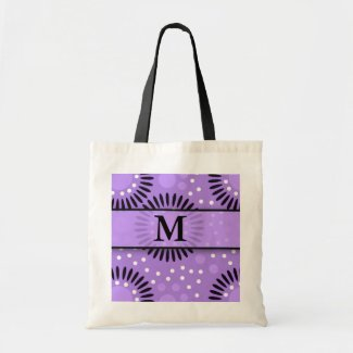Purple Polka Dots Floral Monogrammed Tote Bags