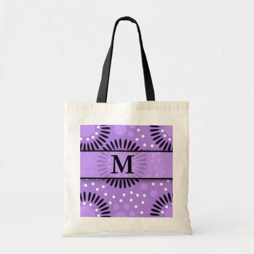 Purple Polka Dots Floral Monogrammed Tote Bags