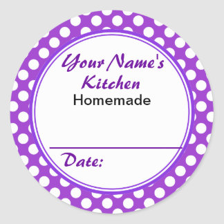 Purple Polka Dots From Your Name Kitchen Custom Classic Round Sticker
