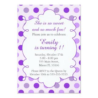 Purple Polka Dots Girl Birthday Invitation