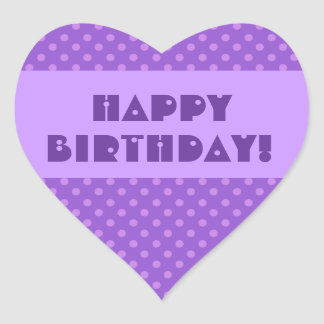Purple Polka Dots Happy Birthday Heart Sticker