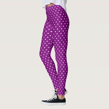 Beach Themed Purple Polka Dots Leggings