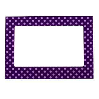 Purple polka dots magnetic photo frame