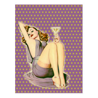 purple polka dots martini rockabilly pin up girl postcard