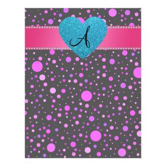 "Purple polka dots monogram 8.5"" x 11"" flyer"