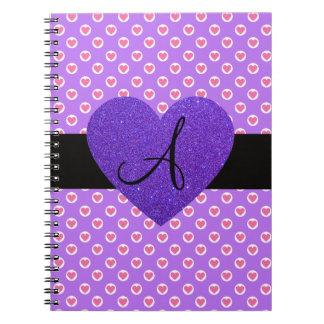 Purple polka dots monogram hearts spiral notebook