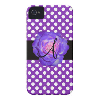 Purple polka dots monogram purple rose iPhone 4 cases
