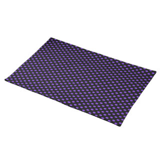 Purple Polka Dots on Black Cloth Placemat