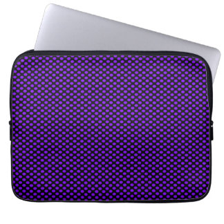 Purple Polka Dots on Black Computer Sleeve
