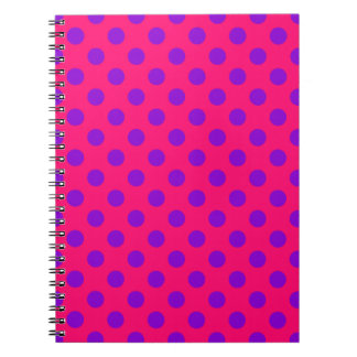 Purple polka dots on cerise notebook