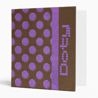 Purple Polka Dots on Chocolate Leather Texture 3 Ring Binder